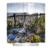 Beach Flowers Before The Fence Shower Curtain