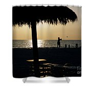 Beach Frisbee At Sunset On Marco Island Florida Shower Curtain