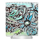 Beach Glass Flowers 1- Art By Linda Woods Shower Curtain