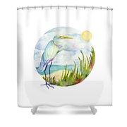 Beach Heron Shower Curtain
