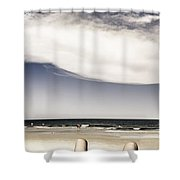 Beach Holiday Man Vertical Panorama Shower Curtain