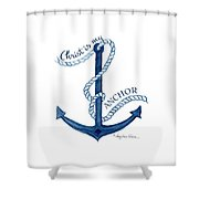 Beach House Nautical Ship Christ Is My Anchor Shower Curtain