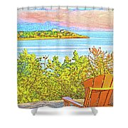 Beach House On The Bay Shower Curtain