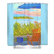 Beach House On The Bay Shower Curtain
