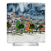 Beach Houses Watercolor Painting Shower Curtain