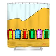 Beach Huts And Sand Shower Curtain