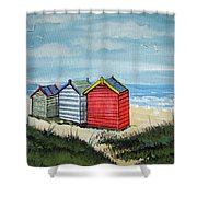 Beach Huts On The Sand Shower Curtain