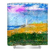 Beach Lighthouse Shower Curtain