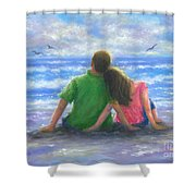 Beach Lovers Pink And Green Shower Curtain
