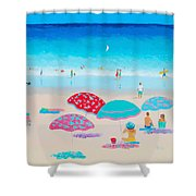 Beach Painting - A Golden Day Shower Curtain