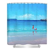 Beach Painting - A Sea Breeze Shower Curtain