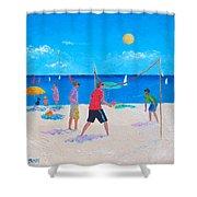 Beach Painting Beach Volleyball  By Jan Matson Shower Curtain
