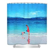 Beach Painting - Cooling Off Shower Curtain