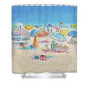 Beach Painting - Crowded Beach Shower Curtain