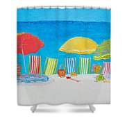 Beach Painting - Deck Chairs Shower Curtain