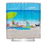 Beach Painting - Lazy Beach Day Shower Curtain