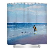Beach Painting - The Lone Surfer Shower Curtain