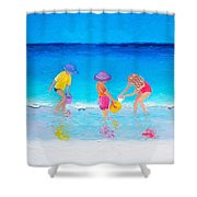 Beach Painting - Water Play  Shower Curtain