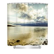 Beach Panorama Of A Sunrise Over The Sea Shower Curtain