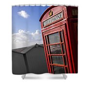 Beach Phonebox Shower Curtain