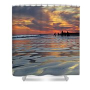 Beach Play At Dusk Shower Curtain