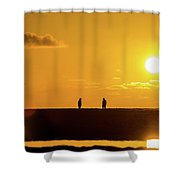 Beach Romance At Sunset Shower Curtain