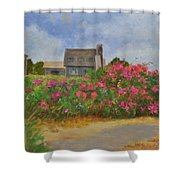 Beach Roses And Cottages Shower Curtain