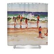 Beach Scene, Afternoon Shower Curtain