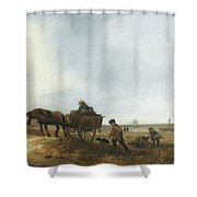 Beach Scene With Fishermen Shower Curtain
