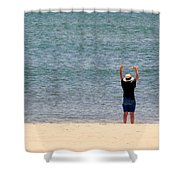 Beach Side Exercises Shower Curtain