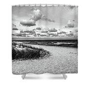 Beach Sunset Bw Shower Curtain