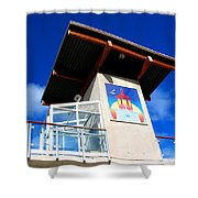 Beach Tower In Blue Sky Shower Curtain