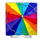 Beach Umbrella Panoramic Shower Curtain