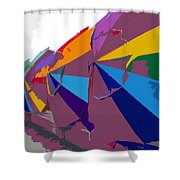 Beach Umbrella Row Shower Curtain