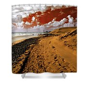 Beach Under A Blood Red Sky Shower Curtain