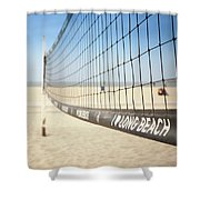 Beach Volleyball Net On The Sand At Long Beach, Ca Shower Curtain