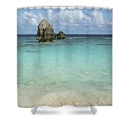 Beach With Big Rock Ahead Vertical Bermuda Shower Curtain