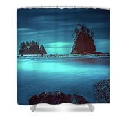 Beach With Sea Stacks In Moody Lighting Shower Curtain