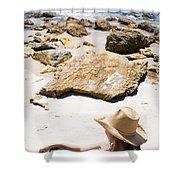 Beach Woman Shower Curtain by Jorgo Photography - Wall Art Gallery