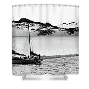 Beached At Coorong Bw Shower Curtain