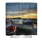 Beached Boats On Trocadero Pipe Puerto Real Cadiz Spain Shower Curtain