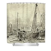 Beached Fishing Boats With Fishermen Mending Nets On The Beach At Brighton, Looking West Shower Curtain