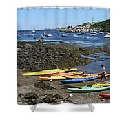 Beached Kayaks At Rockport Harbor Shower Curtain