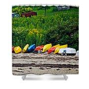 Beached Kayaks Shower Curtain