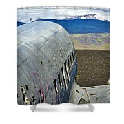 Beached Plane Wreckage - Iceland Shower Curtain