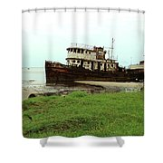 Beached Ship Shower Curtain