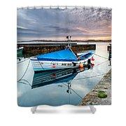 Beadnell Harbour Sunset Shower Curtain