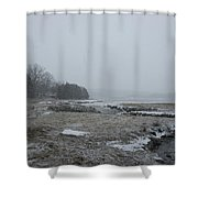Beals Cove During A Snow Storm Shower Curtain