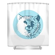 Bear Head Smiling Circle Drawing Shower Curtain