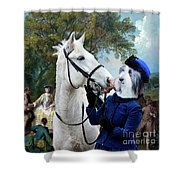 Bearded Collie Art Canvas Print - Picnic After The Hunt Shower Curtain